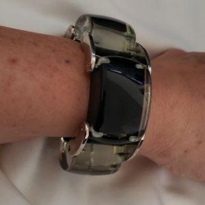 Jewelmint black underlay lucite bracelet 1960's